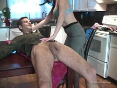 Brunette is kneeling down and starting to lick her hubby's butthole Thumb