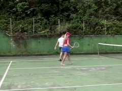 Tanned cutie Crisbel is sucking her pal's dick after a tennis game Thumb