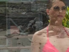 Nasty hooker Jessica Fiorentino is blowing a BBC on the beach Thumb