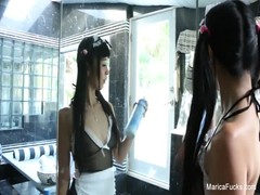 Japanese maid gets horny cleaning up the bathroom Thumb