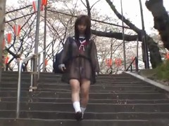 Mikan good looking real asian student flashes her part2 Thumb