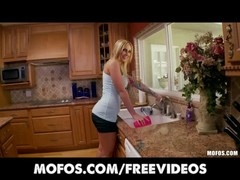 Mofos -Curvy busty blond fucks her pink pussy in the kitchen Thumb