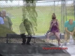 Exhibitionist Wife Lana Flashing Upskirts To Strangers At Bus Stop! Thumb