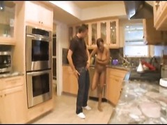 Black housewife pounded by a dude in her kitchen Thumb