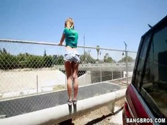 Beautiful young whore is posing outdoors in the video by Ass Parade studio Thumb