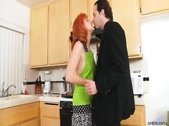Natural redhead housewife Sasha Brand gets her hairy firecrotch pussy coated in a layer of gooey jiz Thumb