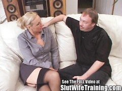 A bombshell MILF Joey-Lynn was sent for  slut wife  training lesson. Checking out her all natural ti Thumb
