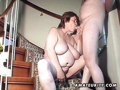 A chubby amateur mature wife homemade hardcore action with pussy toying, blowjob and doggystyle with Thumb