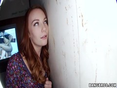 Enjoyable blowjob action in the gloryhole with innocent redhead slut Thumb