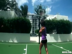 Impressive sporty girl is jumping on a dick after playing basketball Thumb