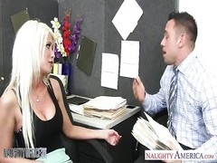 Busty blonde Riley Jenner fucking in the office Thumb