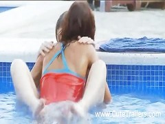 Ultra petite lesbian girlfriends kissing whole body and making love in the outdoor pool Thumb