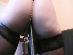 Girlfriend in sexy black lingerie rides him Thumb