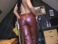 Ripped Leather Pants & Fingering Herself Thumb