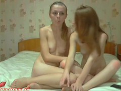 Couple of slender naked Russian girls in the bedroom in front camera Thumb