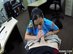 Hot milf policeman sucks big cock for money in office Thumb