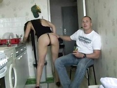Slender horny wife fucked by two guys Thumb