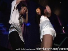 club girls flashing tits and up the skirt to see their tight panties while Thumb