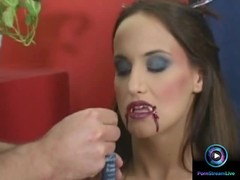 Halloween makeover turns into a blowjob action care of Andy Thumb