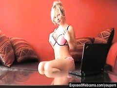 Hot Blonde Sharka Strips During Cam Show Thumb