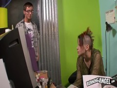 Silly teenage babe plays with cock of her male in punk emo porn Thumb